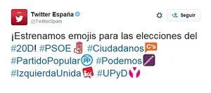 Vox y los independentistas critican los emojis de Twitter del #20D